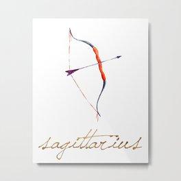 Watercolor Sagittarius Bow & Arrow Metal Print