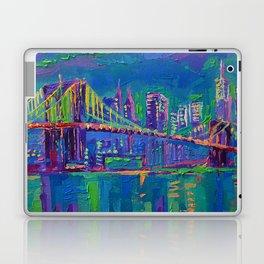 New York City Night Lights - palette knife painting urban Brooklyn bridge skyline Laptop & iPad Skin