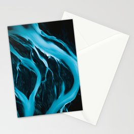 Minimalistic and Moody Glacial Rivers in Iceland – Aerial Landscape Photography Stationery Cards