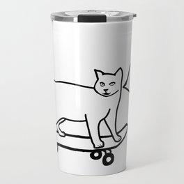 Check MEOWT! Skateboarding Cat Black White Travel Mug