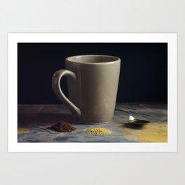 Mug and Spoon of Honey behind Raw Sugar and Coffee Grounds Art Print