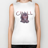chill Biker Tanks featuring CHILL by ThousandPandas