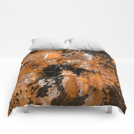 Rusting Darkness - Abstract in gold, black and white Comforters