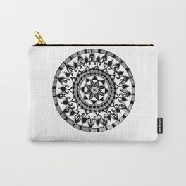 Black and White Circular Hand-Drawn Mandala Carry-All Pouch