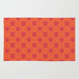 Floral Damask Copper Pink Rug