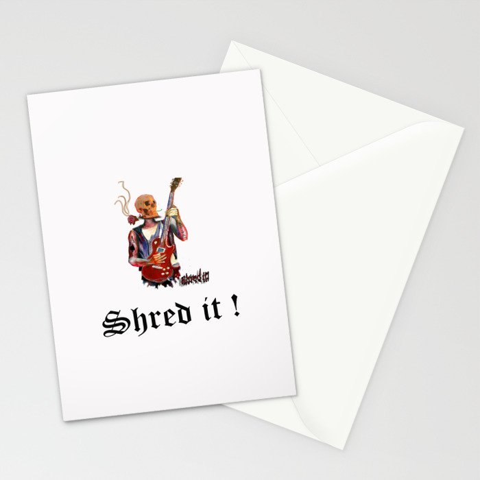 Shred it Skull guitar player  Stationery Cards
