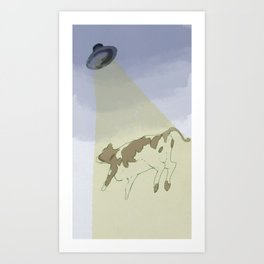 Stealing a cow from Earth Art Print