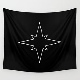 White North Star Outline Wall Tapestry