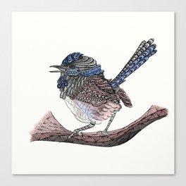 Blue Zen Wren Paisley Bird Canvas Print