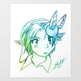 Young Link Pencil Art Print