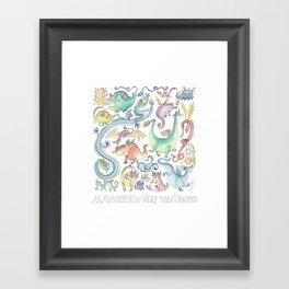 An Assortment of Silly Dragons Framed Art Print