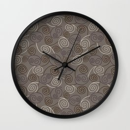 Taupe Abstract Swirl Pattern Wall Clock