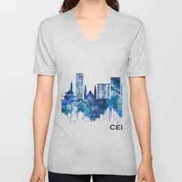 Cebu City Philippines Skyline Blue Unisex V-Neck