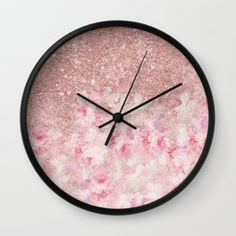 Girly pink boho floral rose gold glitter Wall Clock