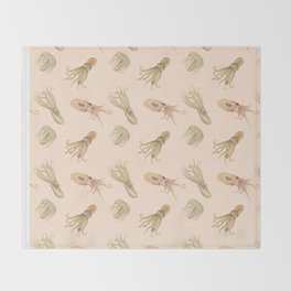 Cephalopods on Blush 2 Throw Blanket
