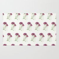 peony Area & Throw Rugs featuring peony by Dao Linh