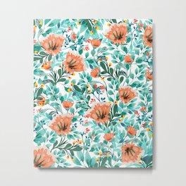 Tangerine Dreams, Orange & Mint Botanical Jungle Watercolor Painting, Colorful Plants Floral Summer Metal Print