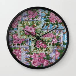 green and blue roses Wall Clock
