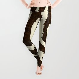 ANIMAL PRINT ZEBRA IN WINTER 2 BROWN AND BEIGE Leggings