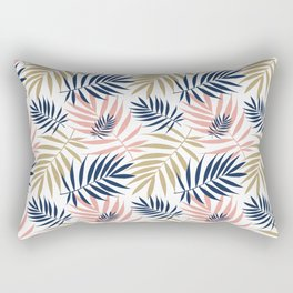 Tropical Palm Leaf Pattern – Pink, Gold, Indigo Rectangular Pillow