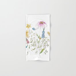wild flowers and blue bird _ink and watercolor 1 Hand & Bath Towel