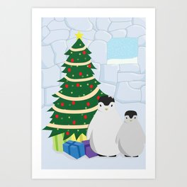 Penguins on Christmas Morning Art Print