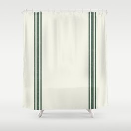 Vintage Country French Grainsack Green Stripes Creme Background Shower Curtain