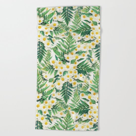 Textured Vintage Daisy and Fern Pattern  Beach Towel