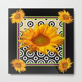 Deco Coffee & Cream Sunflowers Flowers  Black Art Metal Print