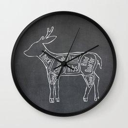 Venison Butcher Diagram (Deer Meat Chart) Wall Clock