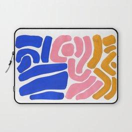 Colorful Minimalist Mid Century Modern Shapes Pink Ultramarine Blue Yellow Ochre Tribal Maze Pattern Laptop Sleeve