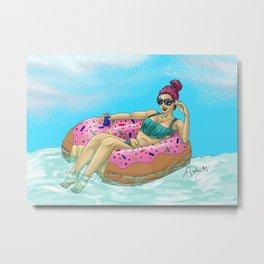Donut Floatie - Color Metal Print