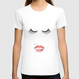 makeup print,bathroom decor,wall art,fashion print,lips print,eyelashes decor,girly,girls room art T-shirt