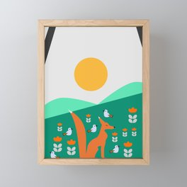 Spring day with fox and birds Framed Mini Art Print
