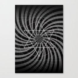 Metatron's Cube Grayscale Spiral of Light Canvas Print