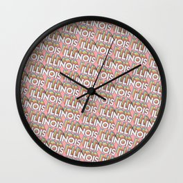 Illinois, USA Trendy Rainbow Text Pattern (Pink) Wall Clock