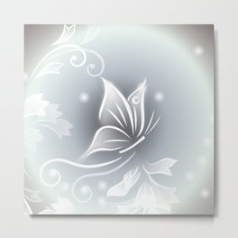 White Taupe Butterfly Fantasy Metal Print