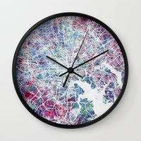 baltimore Wall Clocks featuring Baltimore by MapMapMaps.Watercolors