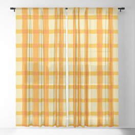 Yellow and Orange Jagged Edge Plaid Sheer Curtain