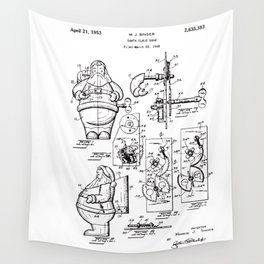 Santa Claus Bank Support Patent Drawing From 1953 Wall Tapestry