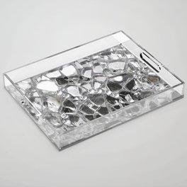 Silver Mirrored Mosaic Acrylic Tray