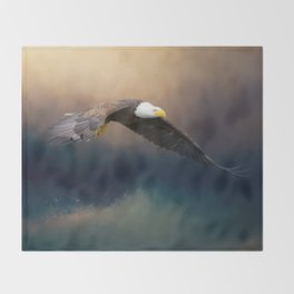 Painting flying american bald eagle Throw Blanket