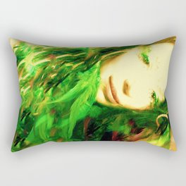 GREEN  FEATHER FAIRY WOOD NYMPH LADYKASHMIR Rectangular Pillow