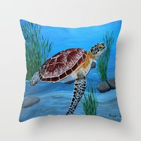 sea turtle Throw Pillows featuring Sea turtle  by maggs326