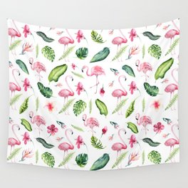 Pink green watercolor tropical hand painted flamingo Wall Tapestry