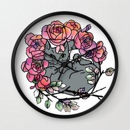 Rose Bed Cat Wall Clock