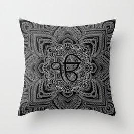 Black and white Ek Onkar / Ik Onkar  in mandala Throw Pillow