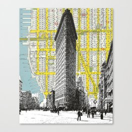 Flatiron Building - NYC Map Background Landmark urban city decor Canvas Print