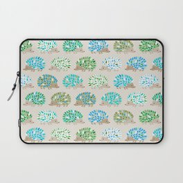 Hedgehog polkadot in green and blue Laptop Sleeve