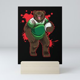 Strong Rugby Bear Mini Art Print